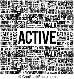 ACTIVE word cloud background, health concept