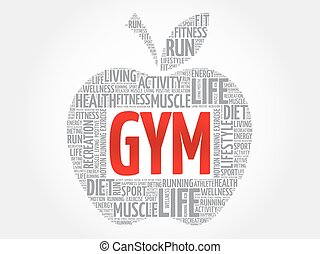 GYM apple word cloud, health concept