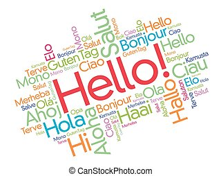 Hello word cloud in different languages of the world,...