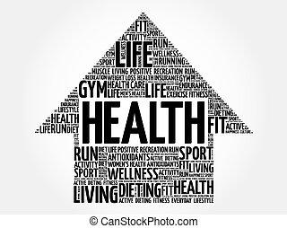 Health arrow word cloud