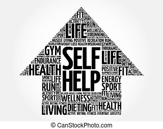 Self Help arrow word cloud, health concept