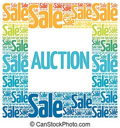 AUCTION words cloud, business concept background