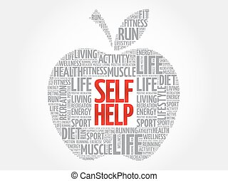 Self Help apple word cloud, health concept