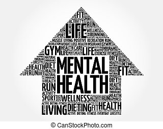 Mental health arrow word cloud, health concept