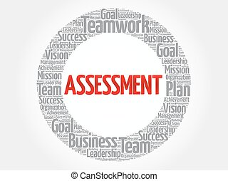 ASSESSMENT circle word cloud, business concept