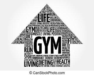 GYM arrow word cloud, health concept