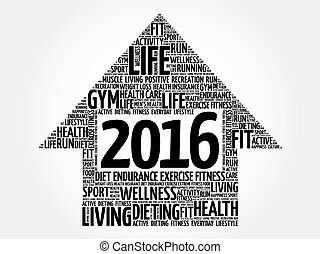 2016 Goals arrow health word cloud, health arrow concept