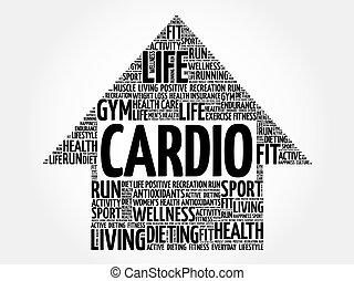 CARDIO arrow word cloud, health concept