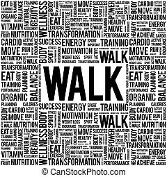 WALK word cloud background, health concept