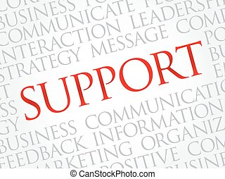 Support word cloud, business concept background