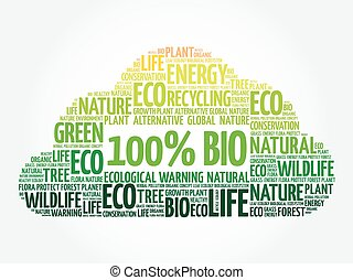 100% BIO word cloud, conceptual green ecology background