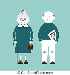 Elderly people, vector illustration with elderly couple