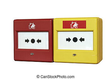 Close up of a fire alarm system on white with clipping path
