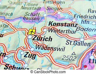 Map of Zurich, close-up