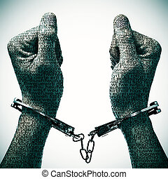 man with handcuffs in his wrists - closeup of a handcuffed...