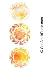Set of icons of suns with different rays and watercolor backgrou