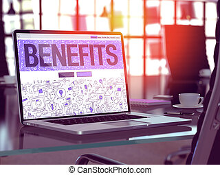 Benefits on Laptop in Modern Workplace Background. -...