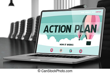 Action Plan on Laptop in Conference Room. - Modern Meeting...