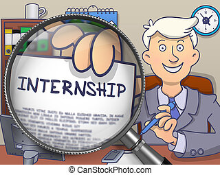 Internship through Lens Doodle Style - Man Holding a Concept...