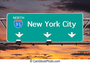 Interstate 95 to New York City Highway Sign with Sunrise Sky
