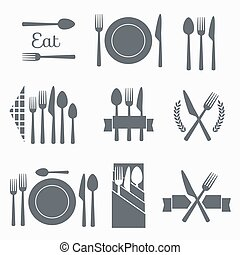 Set vector cutlery icons - Set cutlery icon vector...