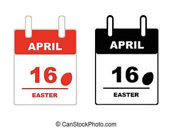 Easter calendar 2017 isolated on white