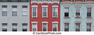 Colorful City Buildings - A view of colorful city brick...