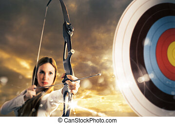 Businesswoman goals - Woman with bow and arrow aiming a...