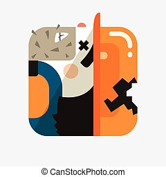 Worker avatar illustration Trendy icon in flat style -...
