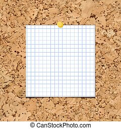 Vector sheet of paper into a cell on cork board.