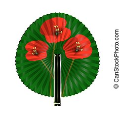 green fan with red flowers