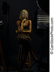 Surreal Portrait of Sexy African American Woman with Glossy...