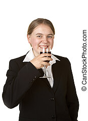 young business woman with glass of wine