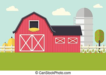 Farm Landscape with Barn - Vector Illustration of Farm...