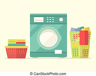 Washing Machine with Basket of Clean and Dirty Laundry Flat...
