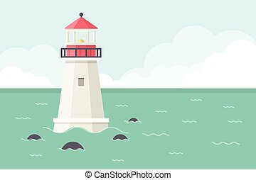 Sea Background with Lighthouse.