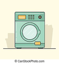 Washing Machine - Line Vector Illustration of Washing...