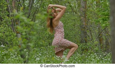 girl posing on a background of the spring forest - girl in a...