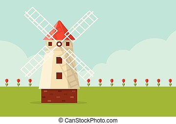 Windmill - Field of Tulips and Windmill Flat Design Style
