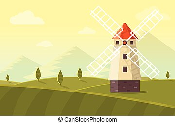 Rural Landscape with Windmill, Mountains and Meadows. Flat...