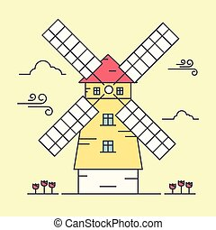 Windmill - Line art vector illustration of windmill Flat...
