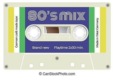 Vintage cassette with lettering title. Eighties mix. -...