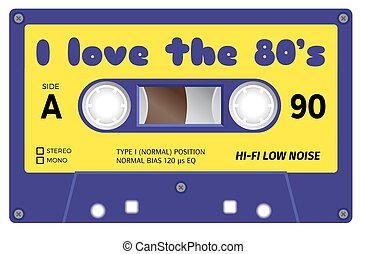Vintage cassette with lettering title. I love the eighties....