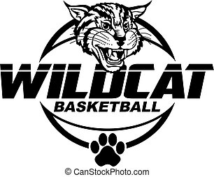 wildcat basketball team design with mascot head for school,...