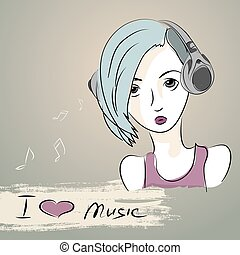 teenager girl listening to music with headphones