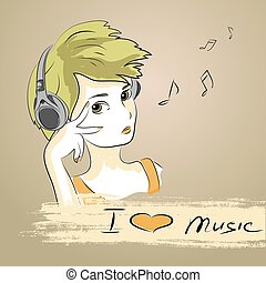teenager girl listening to music with headphones - Cute...