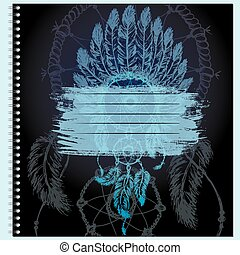 Cover for notebook with native American Indian chief headdress