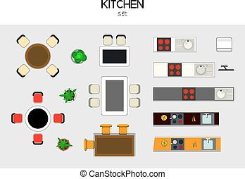 set of furniture - vector set of furniture for the kithen,...