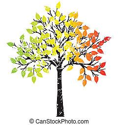 Grunge tree in rasta colors