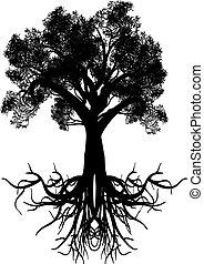 stilizzato, albero,  silhouette
